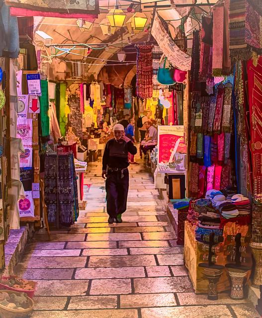 The Street Market (bazaar, souq) in the Old City of Jerusalem