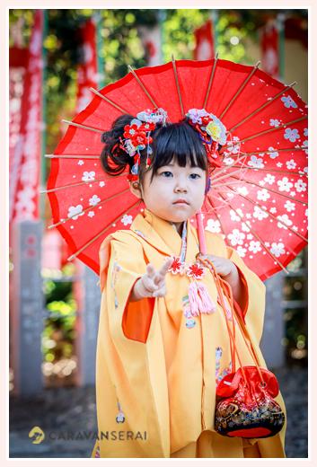 七五三 3歳の女の子 衣装の着物はママが小さい時に着たもの