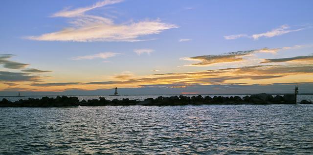 030153a- Sunset Over Lake Michigan At Ludington, Michigan