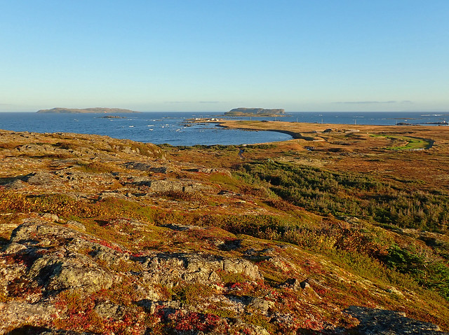 Sunrise over the location, landscape and harbor of L'Anse aux Meadows, a base camp of the Vikings in their crossing from Greenland to Vinland.