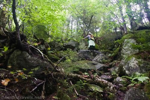 Climbing up rocks up toward Indian Pass, High Peaks Wilderness, Adirondack Park, New York