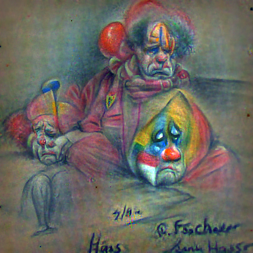 'a pencil sketch of a sad clown' FourierVisions Text-to-Image