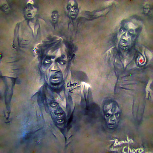 'a charcoal drawing of zombies' FourierVisions Text-to-Image