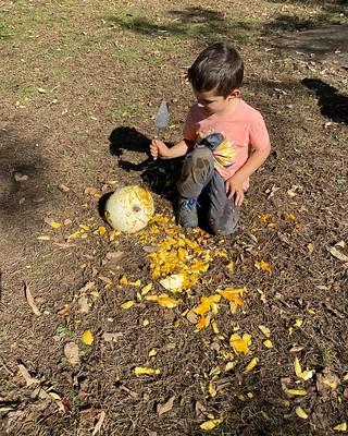 chopping a pumpkin