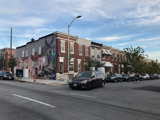 Mural on sidewall of end of group rowhouse, E. Madison Street and N. Kenwood Avenue (southeast corner), Baltimore, MD 21205