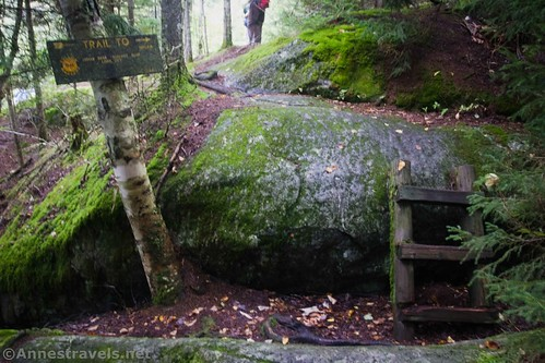 The final ladder up to Summit Rock in Indian Pass, High Peaks Wilderness, Adirondack Park, New York