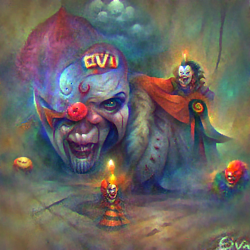 'an evil clown by Viktor Oliva' FourierVisions Text-to-Image