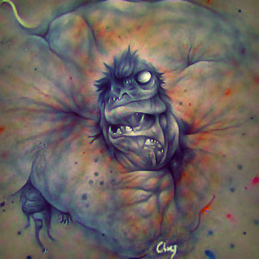 'an ink drawing of an ugly monster' FourierVisions Text-to-Image