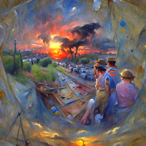 'a detailed painting of a sunset by Thomas Cantrell Dugdale' FourierVisions Text-to-Image