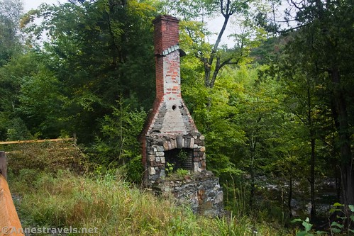 An old chimney along the road at the Upper Works, High Peaks Wilderness, Adirondack Park, New York