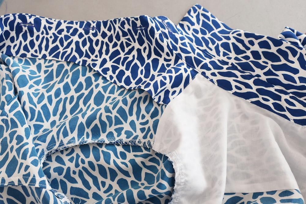 Blue silk shirt inside