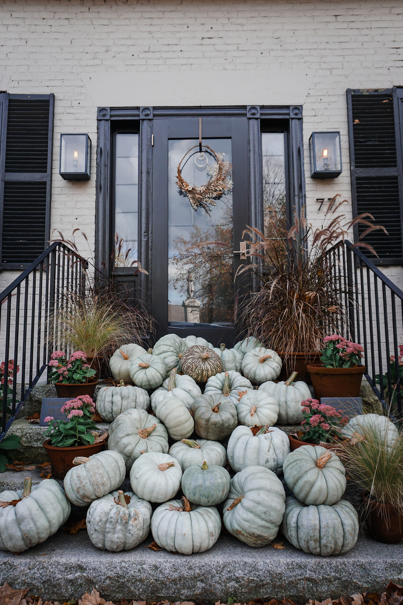 Gray Pumpkins on Front Porch Steps | Fall Decor Outside Front Porches