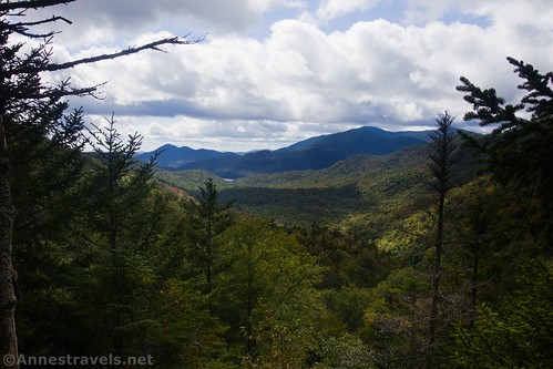 Views out toward Henderson Lake and Santanoni Peak from Summit Rock in Indian Pass, High Peaks Wilderness, Adirondack Park, New York