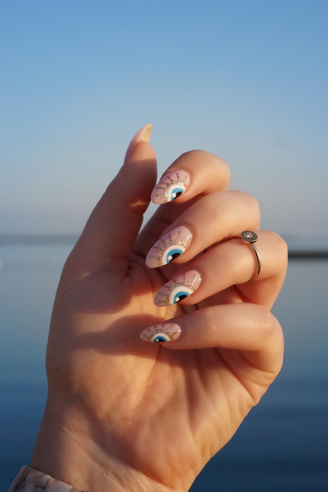 Pink & Glitter Evil Eye Nails   October Nails   Fall Nails   Nail Art   Nail Designs   Almond Nails