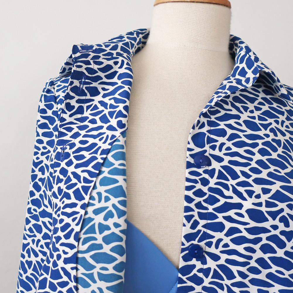 Blue silk shirt facing