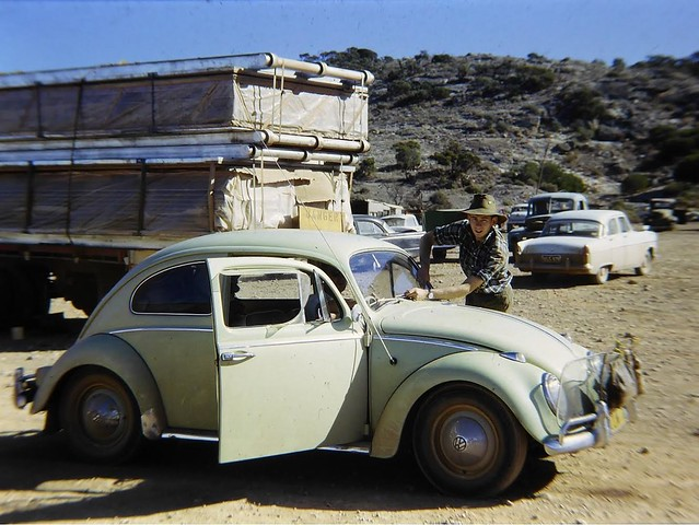 Me and my #1965VWBeetle at Madura on the Nullarbor on the way to or from Perth and the ASF  Conference 1964-65