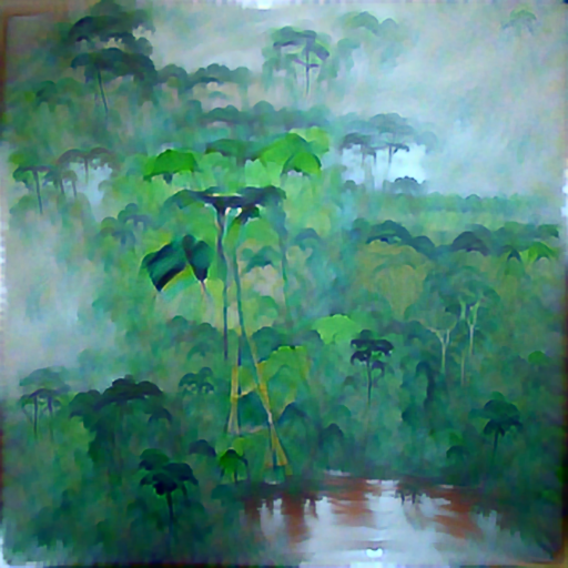 'a minimalist painting of the Amazon Rainforest' PyramidVisions Text-to-Image