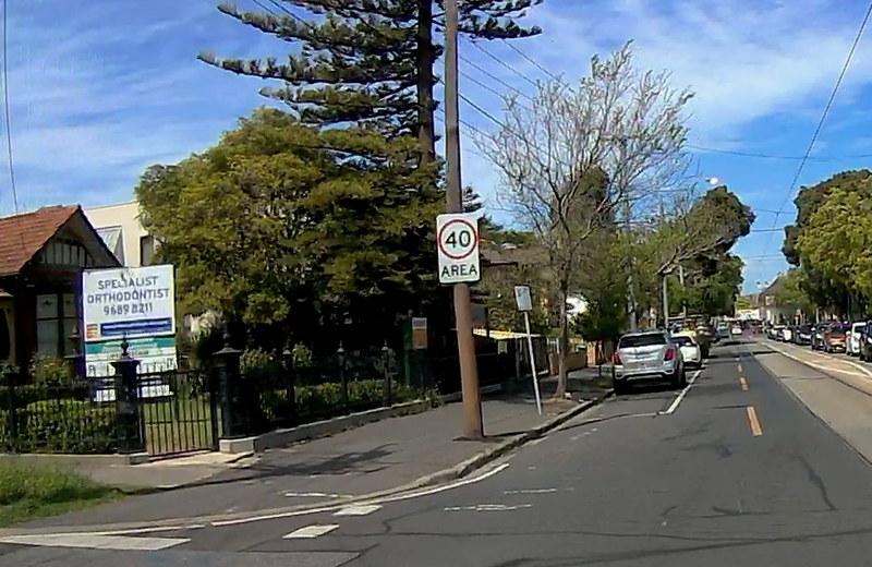 Droop Street, Footscray - speed limit 40 area (Dashcam photo)