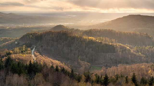 The entrance to the Murgtal in the northern Black Forest shines in atmospheric sunlight