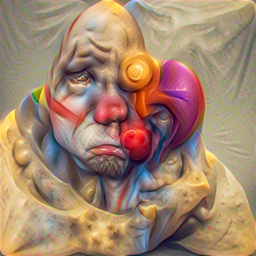 'an abstract sculpture of a sad clown' PyramidVisions Text-to-Image