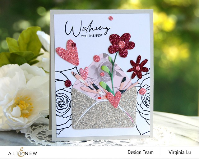 Altenew-Lovely Envelope Die Set-Rose Tea Stamp Set -002