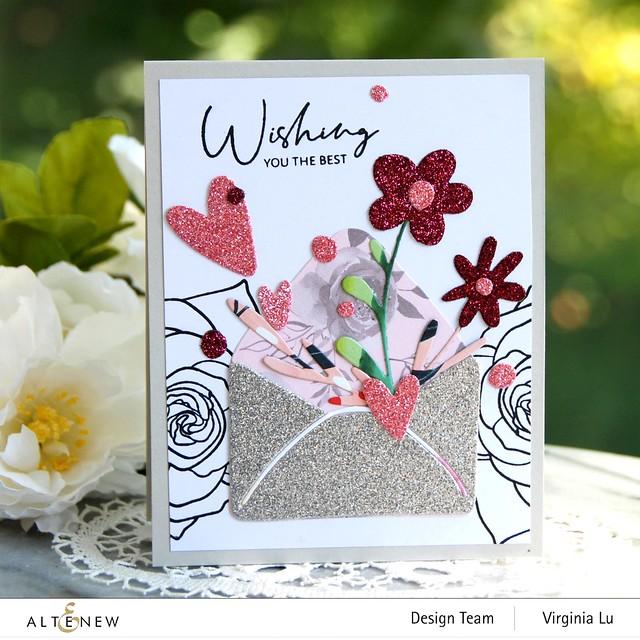 Altenew-Lovely Envelope Die Set-Rose Tea Stamp Set