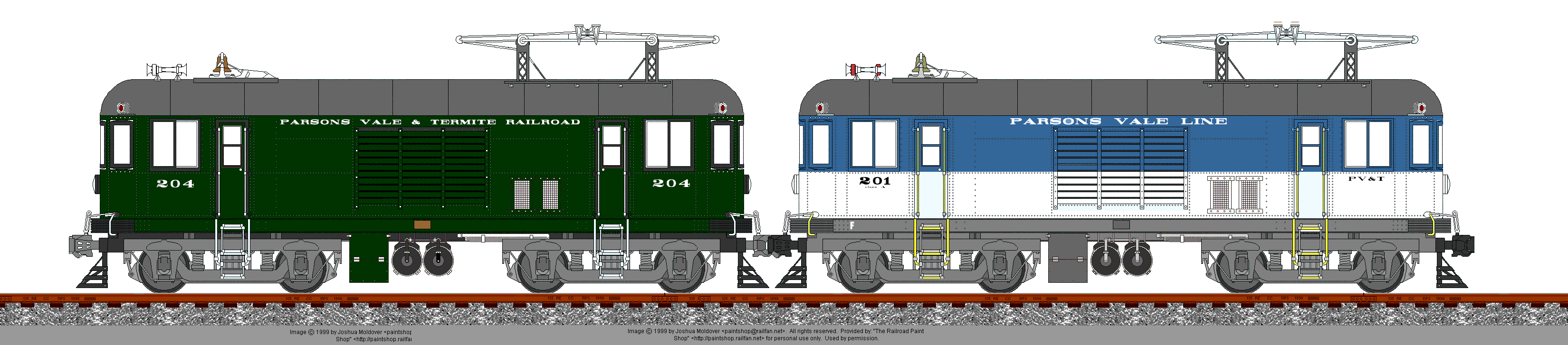 PV&T paint schemes;  old (almost-PRR dark green) & new (big sky blue + white)