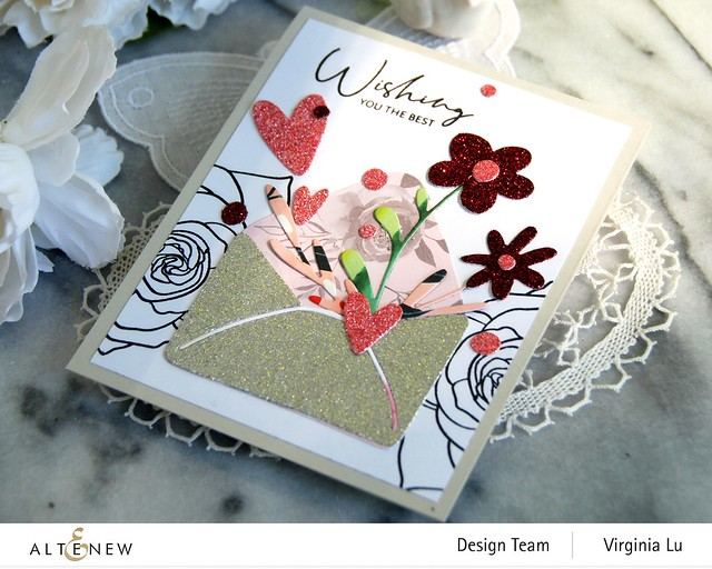 Altenew-Lovely Envelope Die Set-Rose Tea Stamp Set -003