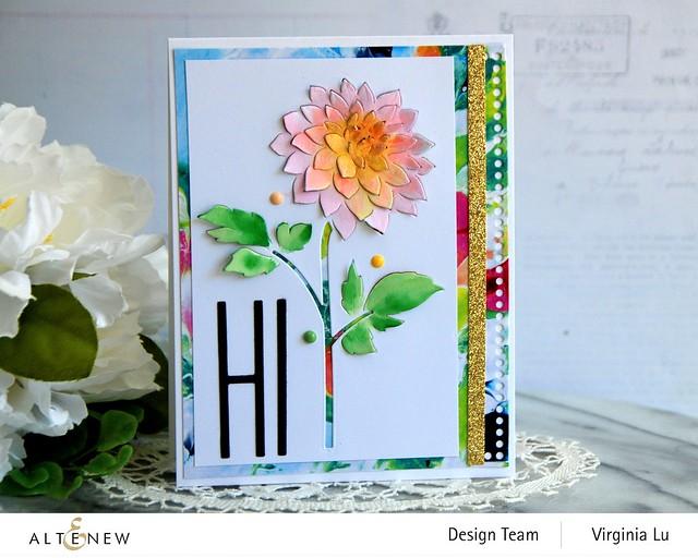 Altenew-Pop-up Dahlia Die-Mighty Alphabet Die-Mix & Match Frame Die-Inky Blot Paper pad-001