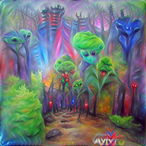 'an acrylic painting of an alien forest | vivid colors' PyramidVisions Text-to-Image