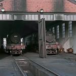 Manor locos 7828 & 7821 in Aberystwyth shed 31-10-1964