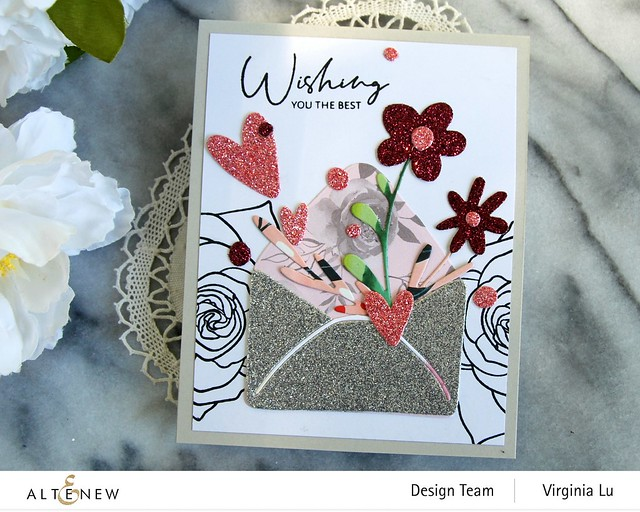 Altenew-Lovely Envelope Die Set-Rose Tea Stamp Set -004