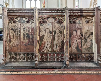Loddon screen: Martyrdom of St William of Norwich, Annunciation, Adoration of the Shepherds