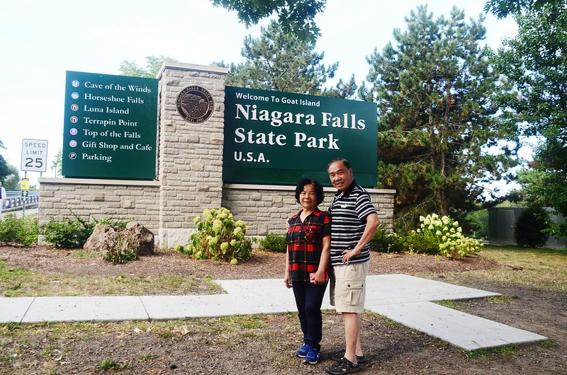 The Niagara Falls State Park sign near the entrance of Goat Island (4)