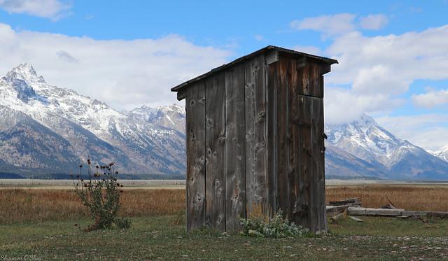 Mormon Row Outhouse and the Teton Range