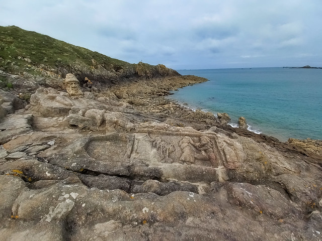 An Unique Site with sculptured rocks at the Rugged Coast of Brittany in Saint-Malo, Rothéneuf