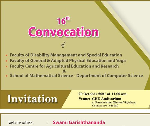 16th Convocation of RKMVERI, Coimbatore Campus