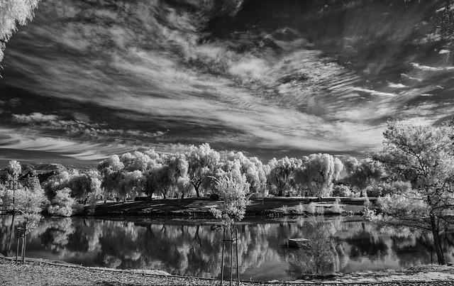 Lindo Lake With Clouds And Reflections In Black And White Infrared