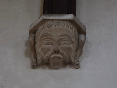 muttonchop whiskers corbel head, probably 1840s