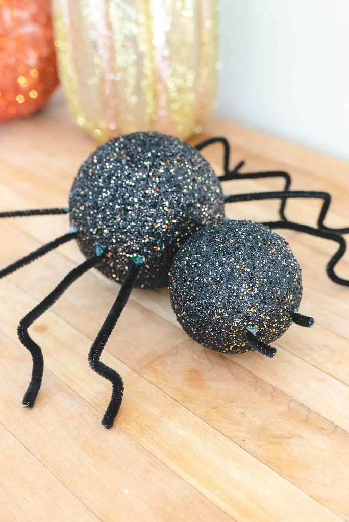 A close up shot of DIY Halloween spider decorations