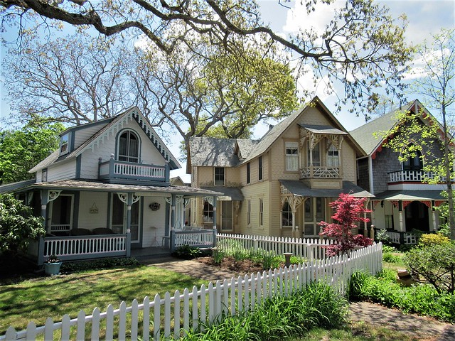 Houses and picket fence, springtime, Wesleyan Grove, Oak Bluffs, Massachusetts
