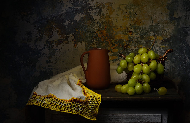 Still life with sweet grapes