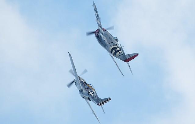 Republic P-47D Thunderbolt G-THUN F4-J 549192  Nellie B  45-49192 USAAF & North American Mustang TF-51D 414251 G-TFSI Contrary Mary WZ-I USAAF 44-84847