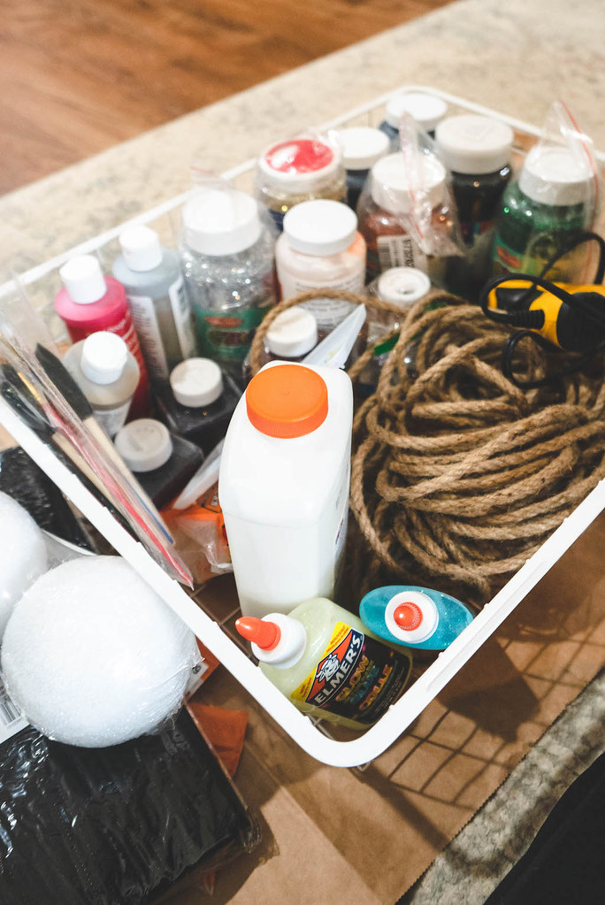 A basket filled with crafting supplies