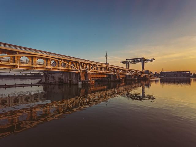 Hydroelectric Power Plant Freudenau on Danube river in Vienna, Austria