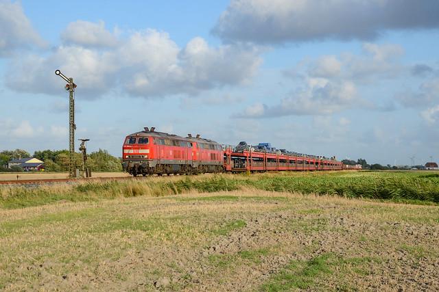 218 380-4 DB + 218 491-9 DB + Syltshuttle à Klanxbüll