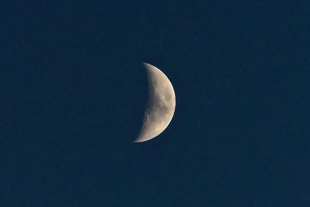 Half moon over Hoople Bay