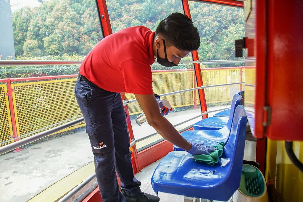 LEGOLAND Malaysia Resort team members are trained to sanitize rides between guests
