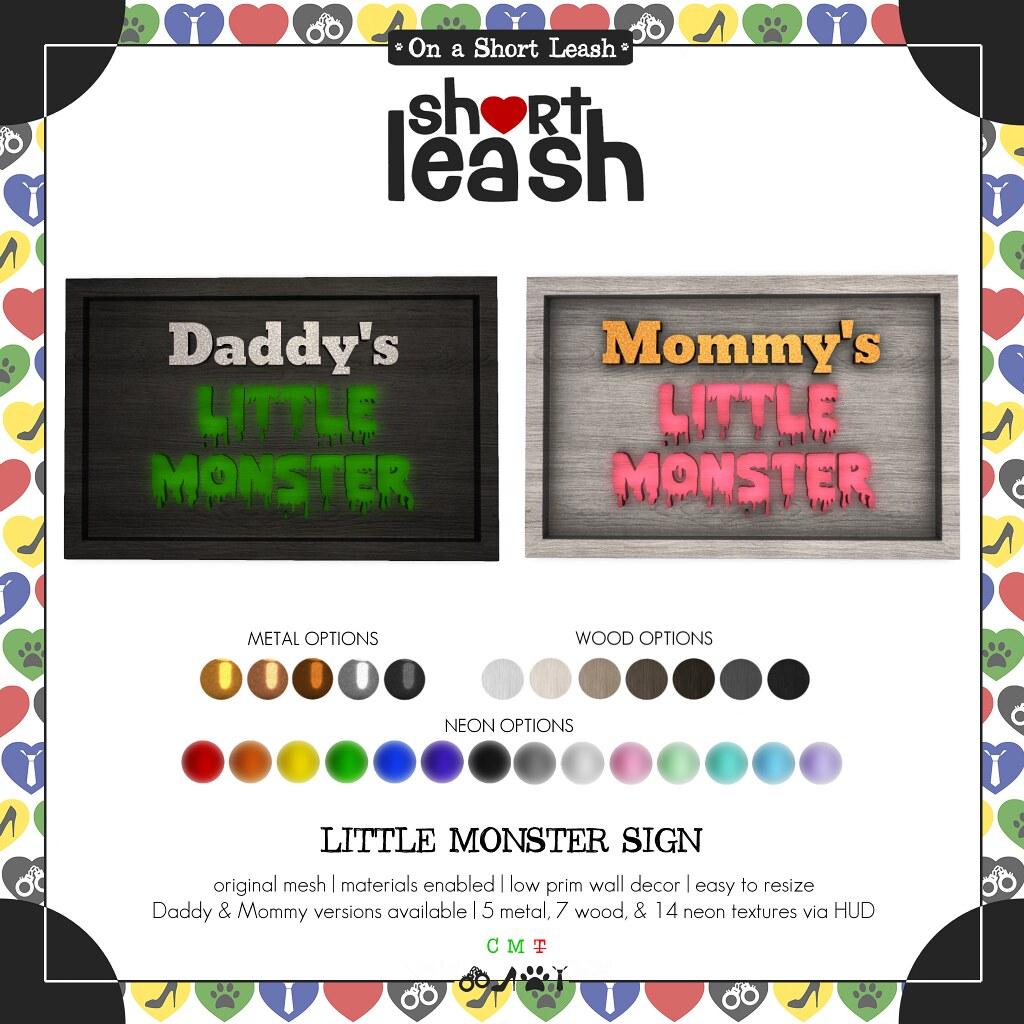 .:Short Leash:. Little Monster Sign