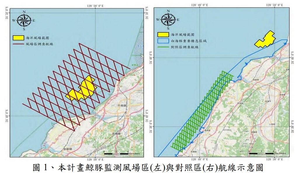 鯨豚觀察範圍,黃色為海洋風場區、綠色為對照區。